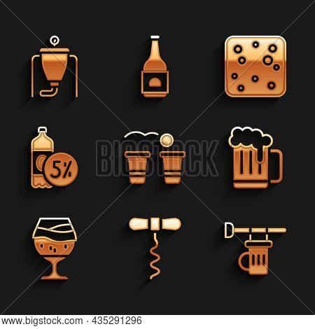 Set Beer Pong Game, Wine Corkscrew, Signboard With Glass Of Beer, Wooden Mug, Glass, Bottle, Bubbles