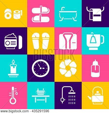 Set Kettle With Handle, Essential Oil Bottle, Cup Of Tea Tea Bag, Bathtub, Flip Flops, Cream Or Loti