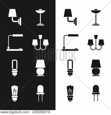 Set Chandelier, Table Lamp, Wall Or Sconce, Floor, Led Light Bulb, Light Emitting Diode And Icon. Ve