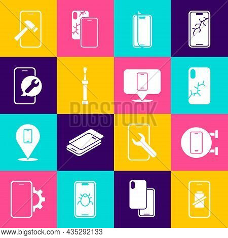 Set Smartphone Battery Charge, Phone Repair Service, Mobile With Broken Screen, Glass Protector, Scr
