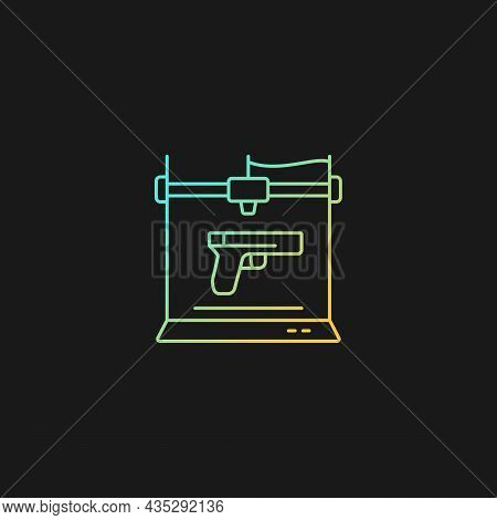 3d Firearms Printing Gradient Vector Icon For Dark Theme. 3d Printable Gun Fabrication. Licensed Wea