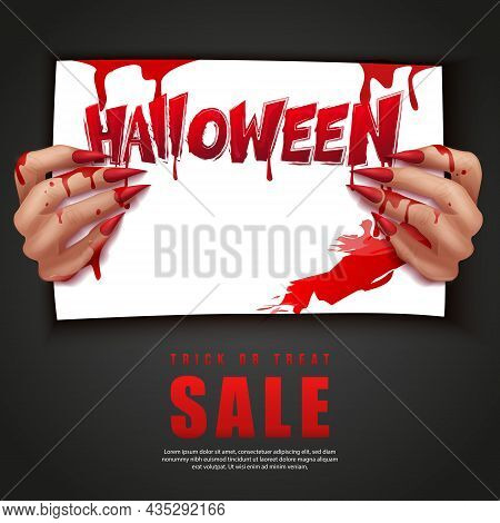 Happy Halloween 3d Realistic Bloody Vampire Hand Holding A Paper