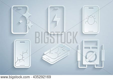 Set Mobile With Broken Screen, System Bug On Mobile, Multimeter, Charging Battery And Glass Protecto