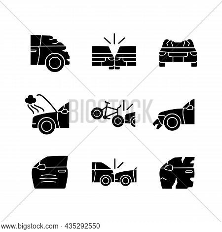 Road Traffic Accidents Black Glyph Icons Set On White Space. Car Damaged Body Parts. Broadside Crash