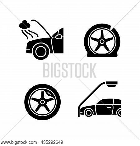 Vehicle Damage In Car Accident Cases Black Glyph Icons Set On White Space. Mechanical Breakdown. Aut