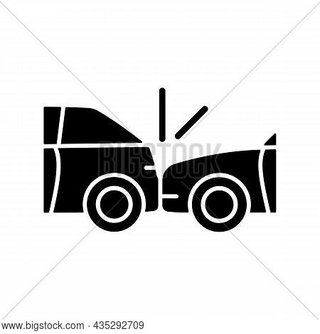 Rear-end Collision Black Glyph Icon. Hitting Vehicle From Behind. Aggressive Driving. Accident Occur