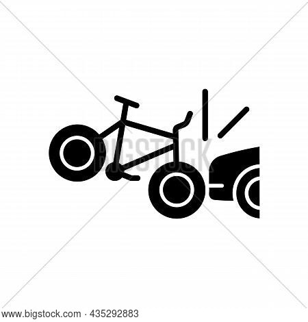 Car Collision With Cyclist Black Glyph Icon. Accident With Bicyclist And Driver. Riding On Public Ro