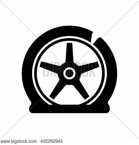 Tyre Damage Black Glyph Icon. Vehicle Accident. Car Tire Defects. Bad Road Conditions. Defective Equ