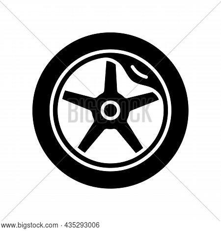Wheel Damage Black Glyph Icon. Collision Damaged Vehicle. Driving On Cracked Rim. Uneven Wear In Tir