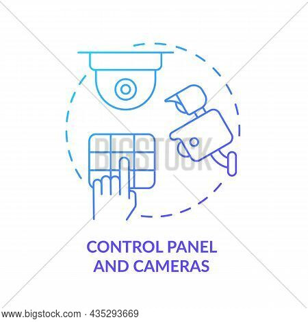 Control Panel And Cameras Blue Gradient Concept Icon. House Safeguard Abstract Idea Thin Line Illust