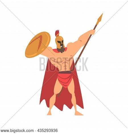Spartan Man In Red Cloak And Helmet Armed With Spear And Shield Standing With Raised Arms Vector Ill