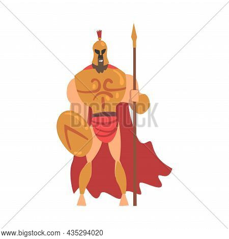 Spartan Man In Red Cloak And Helmet Armed With Spear And Shield Standing Vector Illustration