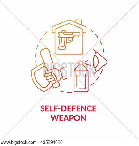 Self Defence Weapon Blue Gradient Concept Icon. Personal Protection Abstract Idea Thin Line Illustra