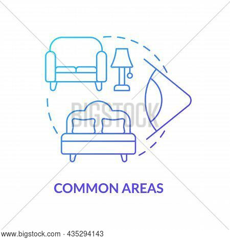 Common Areas Blue Gradient Concept Icon. Home Security System Abstract Idea Thin Line Illustration.