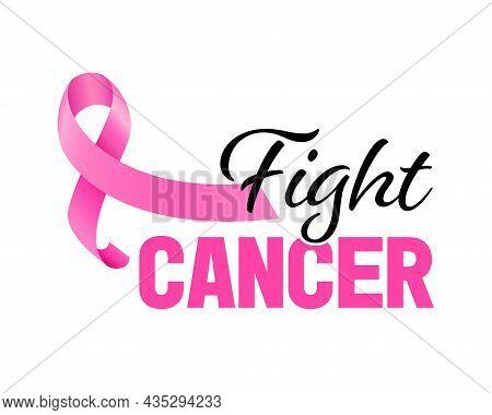 Pink Ribbon Symbol. Fight Cancer Concept. Breast Cancer Awareness Month. Vector Illustration.