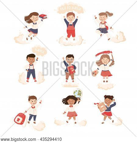 Superhero Kid At School Flying Forward Achieving Goal And Gaining Knowledge Vector Set