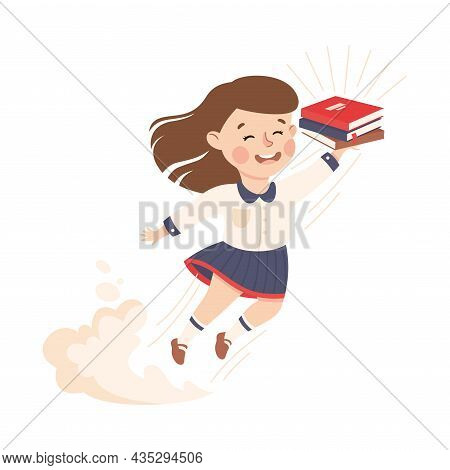 Superhero Little Girl At School Flying Forward With Books Achieving Goal And Gaining Knowledge Vecto