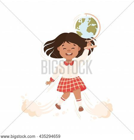 Superhero Little Girl At School Flying Up With Globe Achieving Goal And Gaining Knowledge Vector Ill