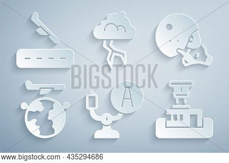 Set Aircraft Steering Helm, Modern Pilot Helmet, Globe With Flying Plane, Airport Control Tower, Sto