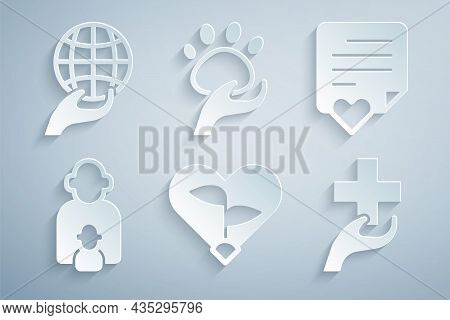 Set Leaf In Heart, Envelope With, Taking Care Of Children, Heart Cross, Animal Volunteer And Hand Ho