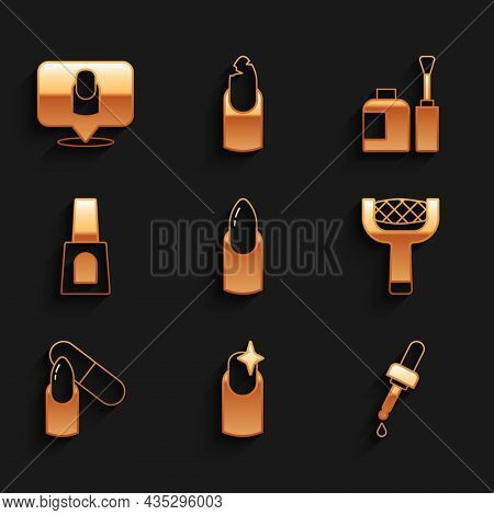 Set Nail Manicure, Pipette With Oil, File, Bottle Of Nail Polish, And Manicure Icon. Vector