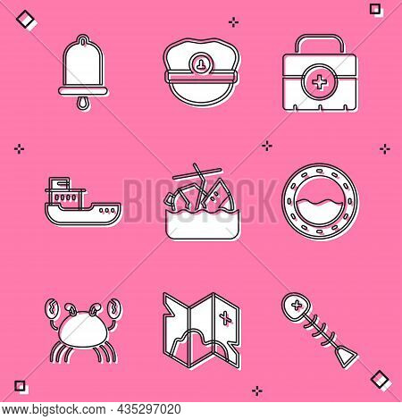 Set Ship Bell, Captain Hat, First Aid Kit, Cargo Ship, Sinking Cruise, Porthole, Crab And Pirate Tre