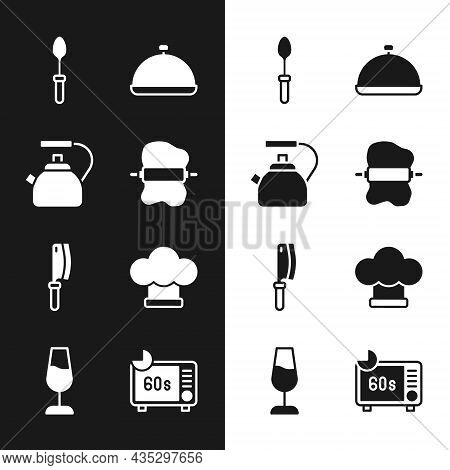 Set Rolling Pin On Dough, Kettle With Handle, Teaspoon, Covered Tray Of Food, Meat Chopper, Chef Hat