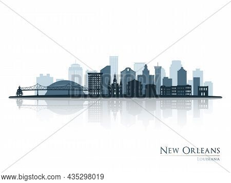 New Orleans Skyline Silhouette With Reflection. Landscape New Orleans, Louisiana. Vector Illustratio