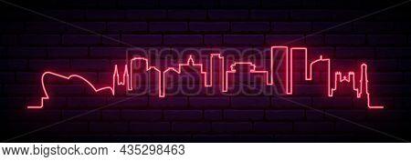 Red Neon Skyline Of Port Of Spain. Bright Port Of Spain City Long Banner. Vector Illustration.
