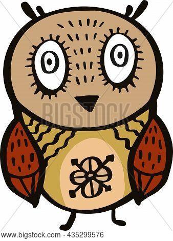 Owl Symbol With Original Pattern Cartoon Vector