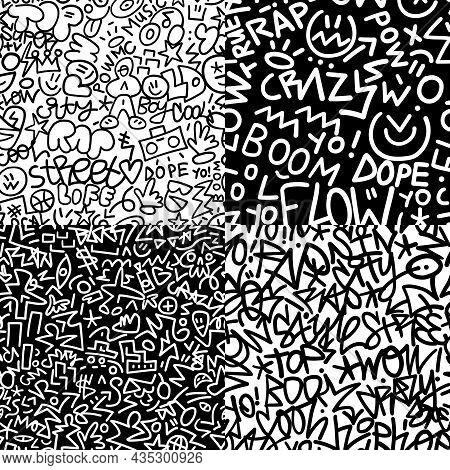 Rap Graffiti Style Seamless Lines Background , Design Element