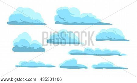 Clouds Set. Sky Background. Illustration In Cartoon Style Flat Design. Isolated On White. Heavenly A