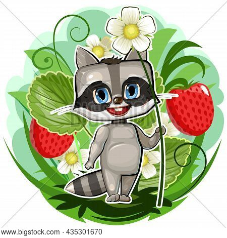 Baby Raccon In A Strawberry Bush With A Flower. A Young Gardener Grows Berries. Fairy-tale Character