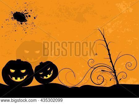 Halloween Jackolantern Pumpkin Background - Silhouetted Halloween Decorations On Orange Grungy Backg