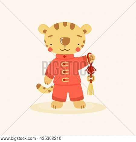 Cute Cartoon Chinese Tiger In Red Costume With Feng Shui Lucky Coin. ..funny Animal Character, Symbo