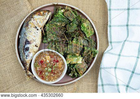Fried Mackerel With Shrimp Paste Sauce, Thai Shrimp Paste (nam Prik Kapi) And Acacia Pennata Omelett