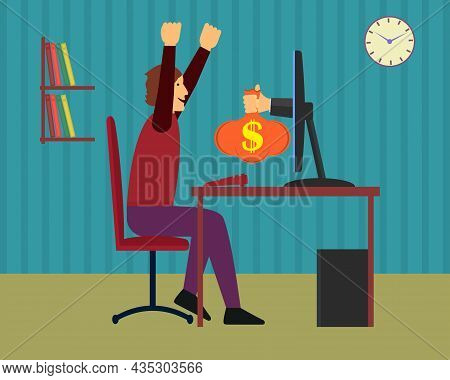 The Hand From The Monitor Stretches A Bag Of Money To A Happy Man. He Raised His Hands And Fists Up.