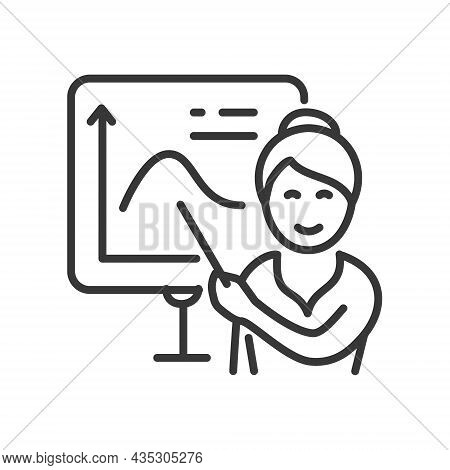 Maths Lesson - Vector Line Design Single Isolated Icon