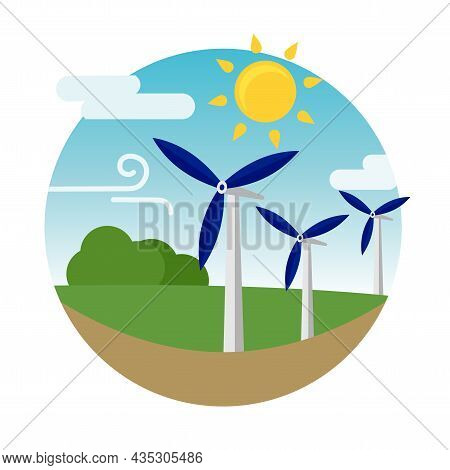 Clean Alternative Energy From Renewable Solar And Wind Sources. Wind Turbines. Vector Illustration.
