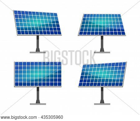 Clean Alternative Energy From Renewable Solar And Wind Sources. Solar Panels. Vector Illustration.