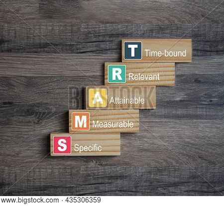 Pieces Of Wood With Smart, Specific, Measurable, Attainable, Recorded, Time-bound On Wooden Backgrou