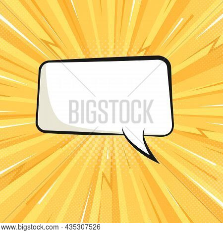 Sunburst Background And Empty Speech Bubble. Flat Yellow Background With Sunbeams In Comic Style. Sq