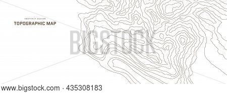 Topographic Map Abstract Background. Outline Cartography Landscape. Topographic Relief Map On White