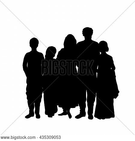 Family Silhouettes Father Mother And Children. Indian Culture And Religion. Illustration Symbol Icon