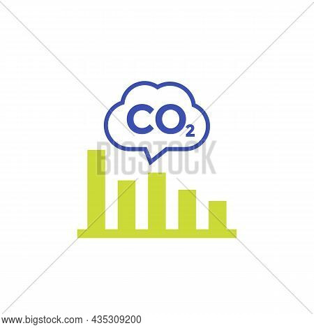 Co2, Carbon Emissions Levels Chart Icon, Vector