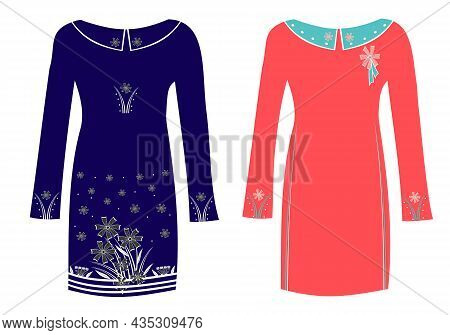 A Set Of Two Original Models Of Dresses With An Abstract Decorative Pattern. Blue And Coral Color. T