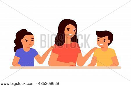 Jealous Relationship Siblings In Family, Conflict Children And Envy For Mother. Parent Choice Darlin