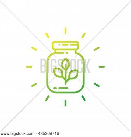 Herbal Medicine Line Icon On White, Vector