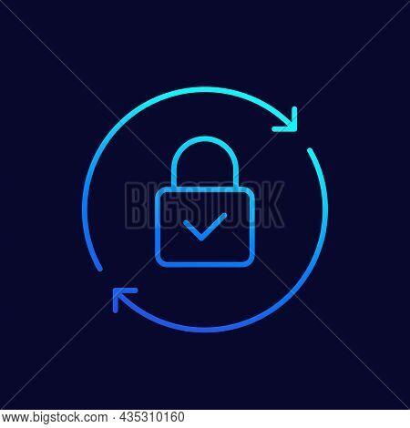 Password Reset Line Icon On Dark, Vector