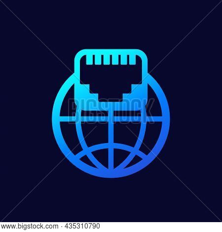 Ethernet Port, Network Icon For Web, Vector